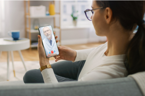 woman at virtual appointment