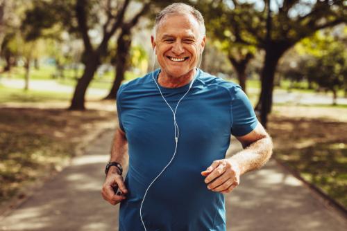 Senior man running